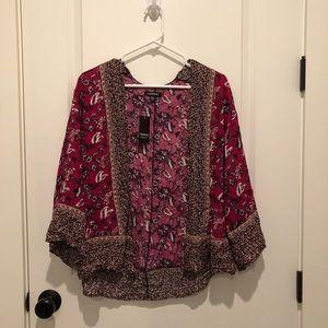 Torrid Luru Border Print Crop Kimono NWT Size 00/0